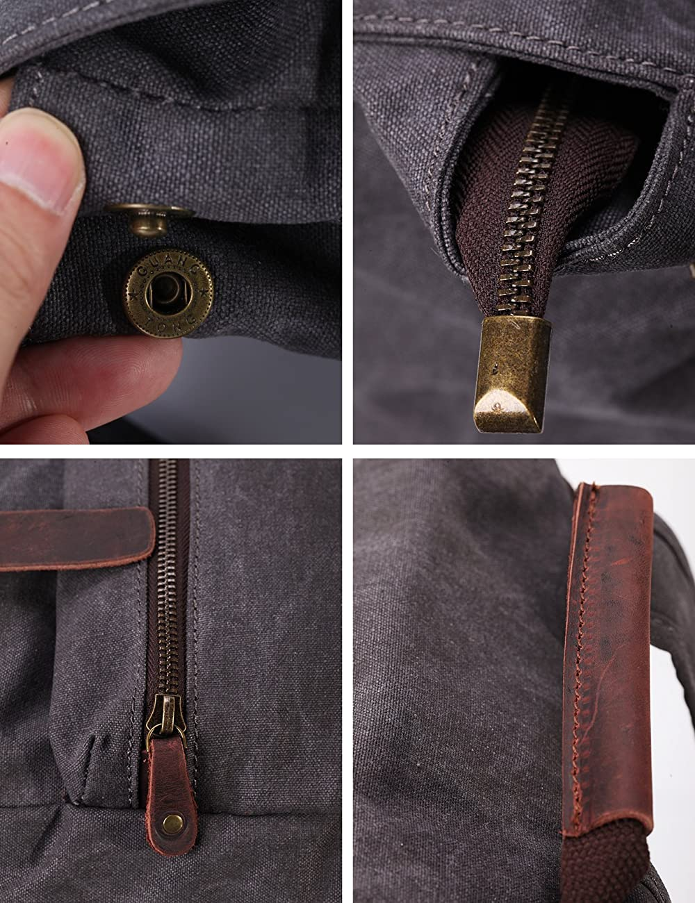 ZEKAR Vintage Waxed Canvas Leather Backpack, Multipurpose Daypacks 5