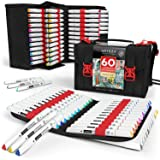 ARTEZA Everblend Art Markers, Set of 60 Colors, Alcohol Based Sketch Markers with Dual Tips (Fine and Broad) for Painting, Coloring, Sketching and Drawing Include Organizer Case with 72 Slots (Color: Set of 60 Colors, Tamaño: Set of 60)