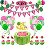 Funnlot Watermelon Birthday Party Decorations Watermelon Birthday Party Supplies Include Watermelon Birthday Banners Watermelon Theme Balloons One in A Melon Cake Topper Arch Balloon Strip Tape (Color: Watermelon Party Decor)