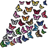 36 Pieces Butterfly Iron on Patches Butterfly Embroidery Applique Patches for Arts Crafts or DIY Decoration T-Shirt Jacket Shoes Bags Repair Patch