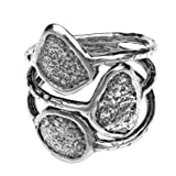 Paz Creations ?925 Sterling Silver Multi-Row Oxidized Ring (7), Made in Israel