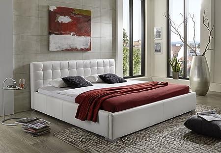 Design Lederbett 200 x 220cm weiß