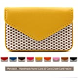 Partstock Multipurpose PU Leather Business Name Card Holder Wallet Leather Credit card ID Case / Holder / Cards Case with Magnetic Shut.Perfect Gift - Yellow (Color: Yellow)