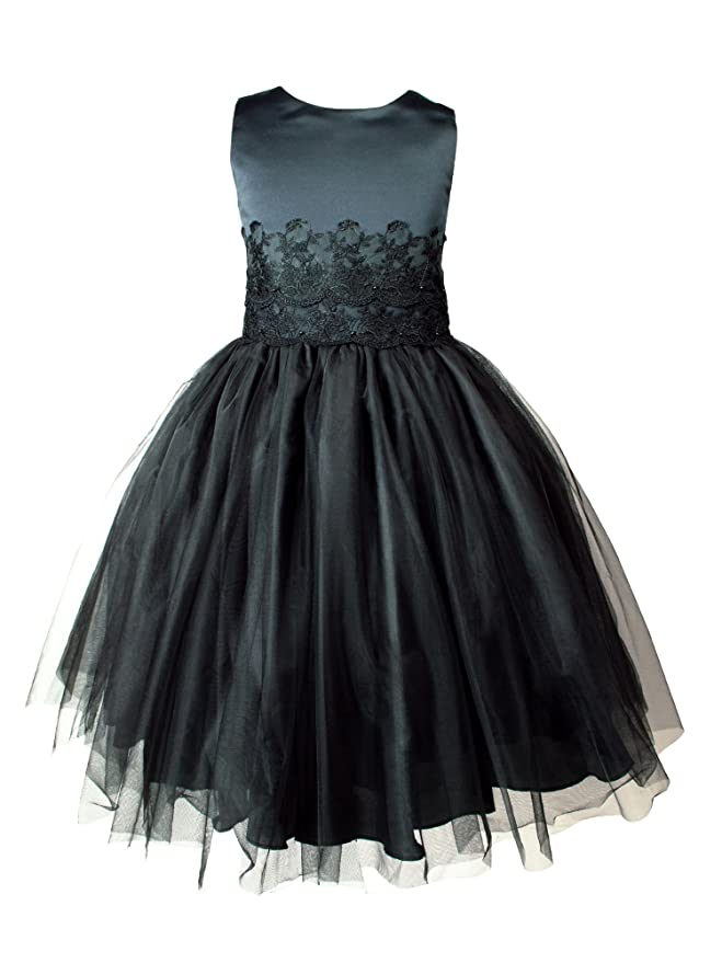Spring Notion Big Girls Satin Sleevless Lace Applique Tulle Dress
