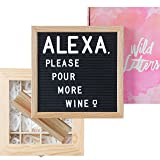 Letter Board with Letters 10x10 Felt Letterboard Accessories |+Organizer +Pre-Cut +Large Letters +Stand| Black, Letterboards, Changeable, Message Board, Box, Baby Announcement, First Day of School (Color: Black)