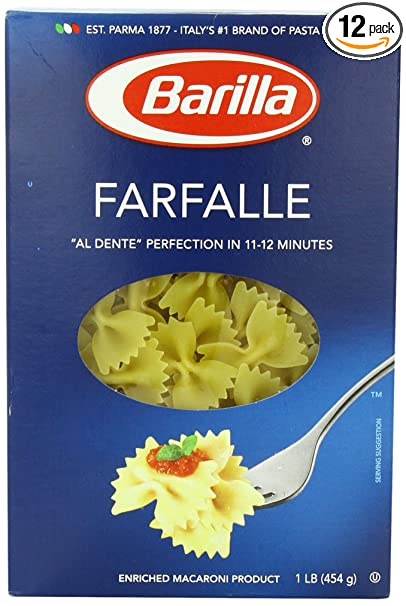 Barilla Pasta, Farfalle, 16 Ounce (Pack of 12)
