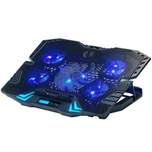Rosewill Gaming Laptop Cooler Notebook Cooling Pad, 5 Silent Blue LED Fans w/Powerful Air Flow, Control Panel w/LCD Screen, Portable Height Adjustable Laptop Stand, Comfortable for Wrists (Color: RWNB16A, Tamaño: Docking Station)
