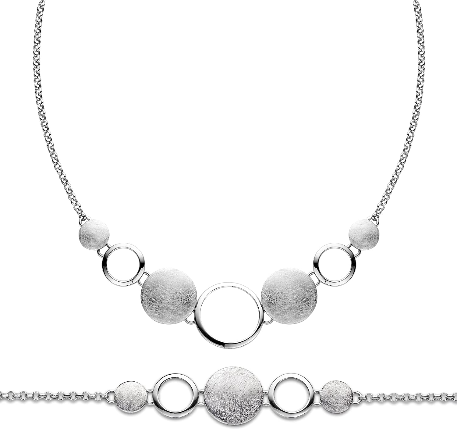 Orphelia Damen-Schmuckset Pure Collection 925 Sterlingsilber Kette 43 cm Armband 19 cm SET-027