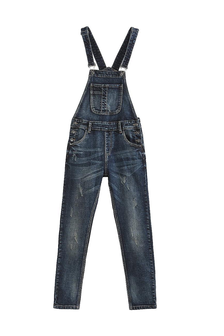 Eurssto Women's Basic Vintage Denim Jeans Overalls Pants Navy 0