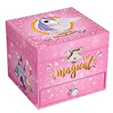 SONGMICS Ballerina Musical Jewelry Box, Unicorn for 3-5 Years Old Little Girls UJMC008PK (Color: Pink, Tamaño: 4.7
