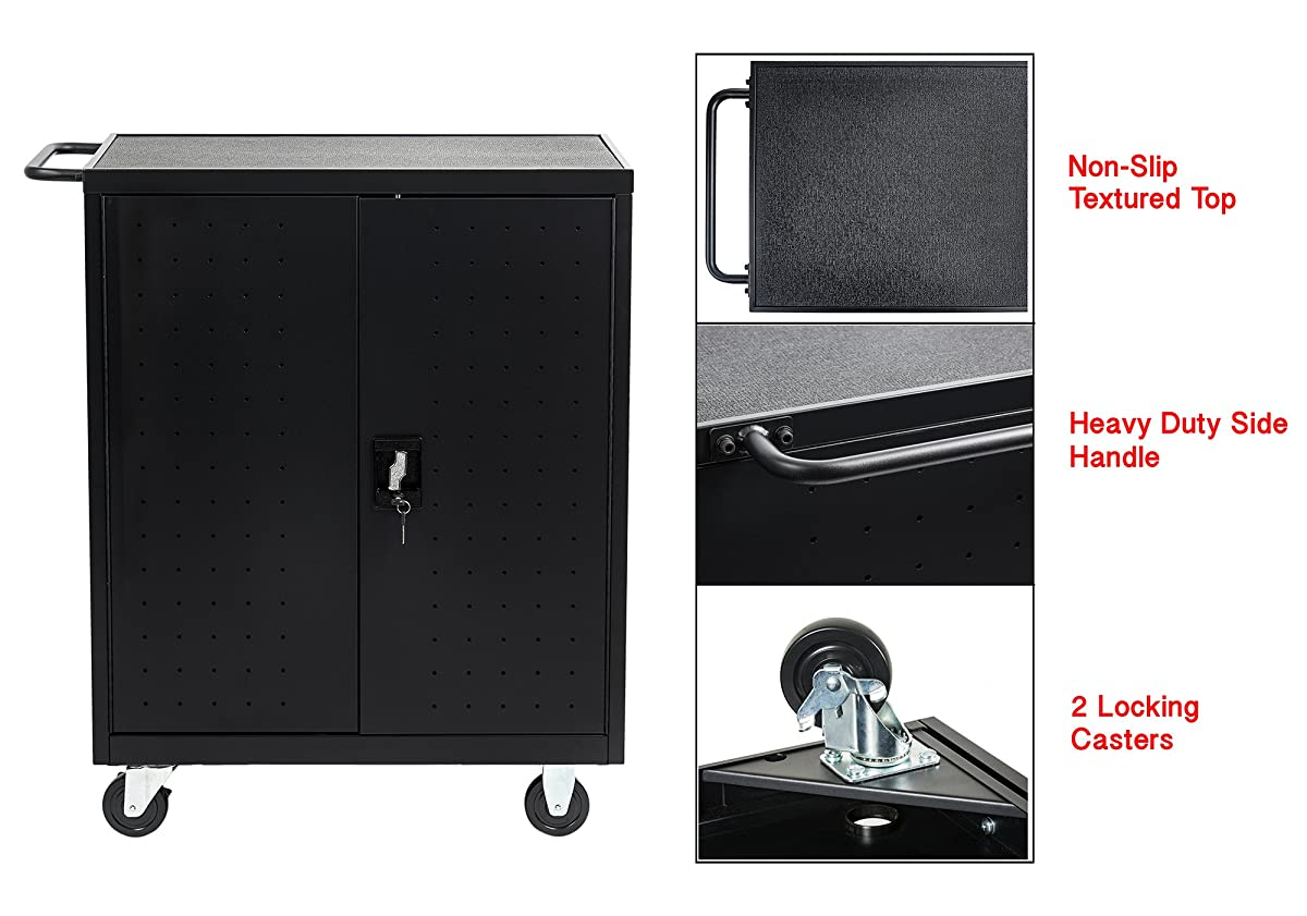 Pearington 30 Bay Classroom and Office Charging Cart for Chromebooks, iPad, Tablets and Laptop Computers with Secure Locking Storage
