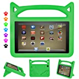 F i r e 7 Tablet Case-Dinines Light Weight Shock Proof Handle Kid-Proof Cover Kids Case for All New F i r e 7 Tablet (Compatible with 5th Generation 2015 / 7th Generation 2017) (Color: Green)