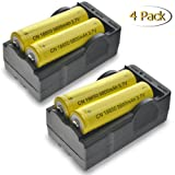 18650 Rechargeable Battery, MOCCO Lithium Ion 9800mAh 3.7V Fast Charge, High-Capacity Rechargeable Lithium Batteries with 2x Dual Charger for Outdoor, LED Flashlights, Headlamps, Laptop (4 Pack) (Color: Yellow, Tamaño: 9800mAh)