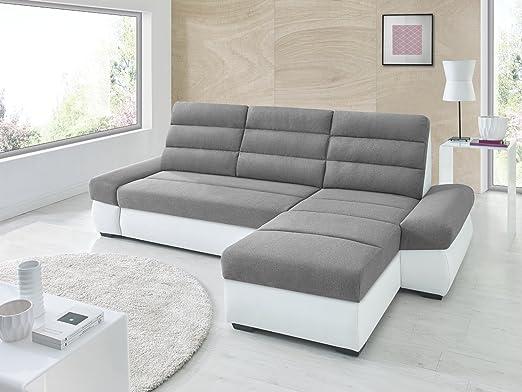 Canapé d'angle convertible BIMBO Gris / blanc