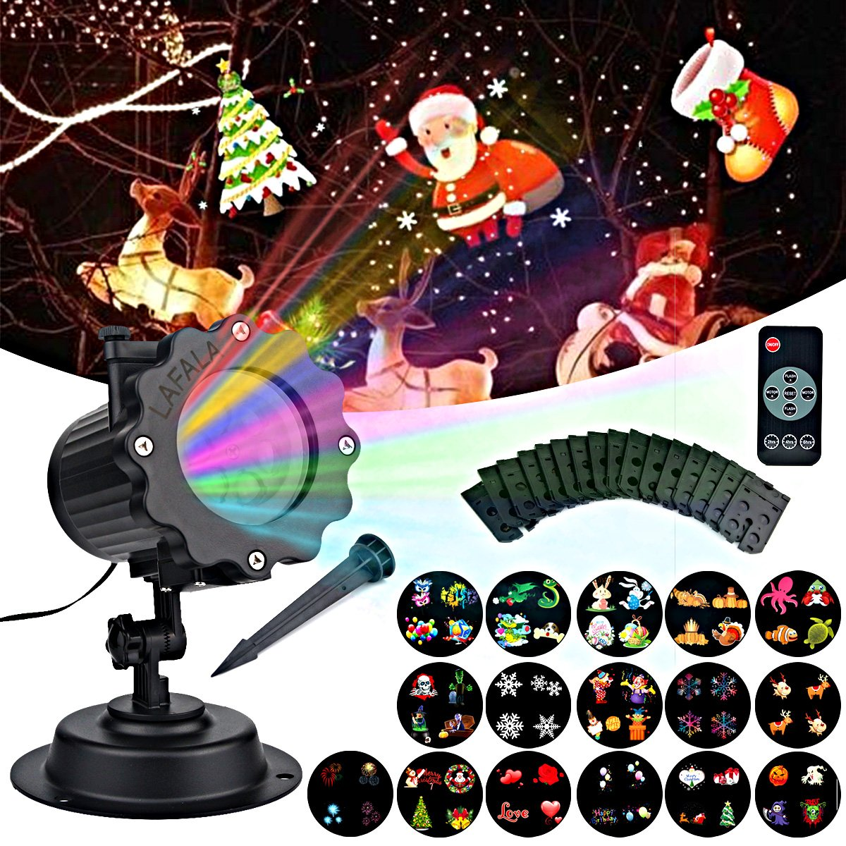LAFALA Christmas Lights Projector-2017 Light Projector 16PCS Pattern slide laser LED Flood projector Landscape lamp Bulb Remote Control and Waterproof Perfect for Christmas Holiday Decorations