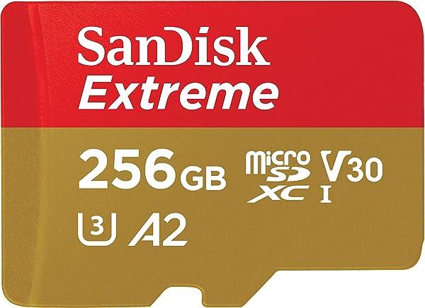 SanDisk 256GB Extreme microSDXC UHS-I Memory Card with Adapter - C10, U3, V30, 4K, A2, Micro SD - SDSQXA1-256G-GN6MA (Renewed) (Tamaño: 256GB)