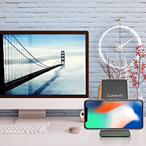 Cubevit iPhone X Wireless Charger, QI Fast Wireless Charging Pad Stand for Samsung Galaxy Note 8 S8 S8 Plus S7 Edge S7 S6 Edge Plus, Standard Charge for Apple iPhone X 8 8 Plus Galaxy S9 S9 Plus S9+