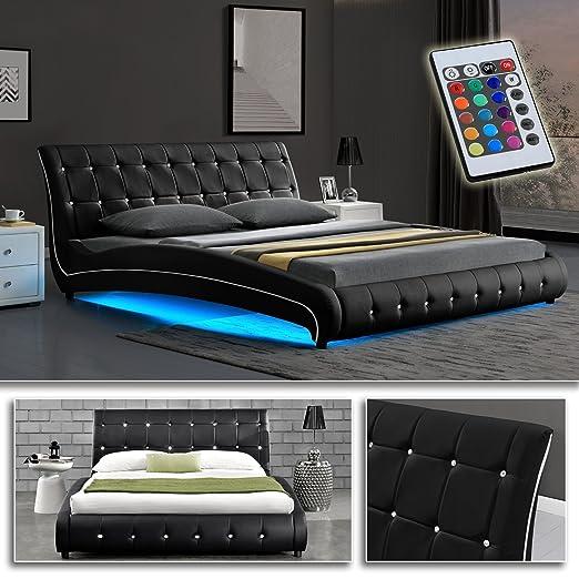 VEGAS Schwarz Doppelbett Polsterbett LED Unterbodenbeleuchtung Bett (160cm x 200cm)