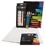 Acrylic Paint Set -12 Acrylic Paints, 6 Paint Brushes for Acrylic Painting, 3 Painting Canvas Panels - Premium Art Supplies for Adults Canvas Painting - Kids Paint Set - Paint Brush Set - Paint Kit (Color: red, blue, black, yellow, green, purple, Tamaño: Medium)