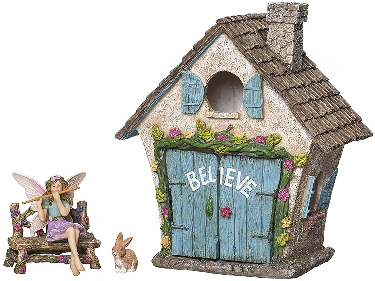 Joykick Fairy Garden House Kit - Hand Painted with Opening Doors and Miniature Fairy Figurine With Accessories - Indoor Outdoor Set of 4 pcs for Home or Lawn Decor