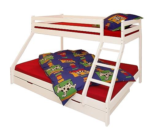 kiefermassiv etagenbett 90x200 140x200 wei lackiert inkl. Black Bedroom Furniture Sets. Home Design Ideas