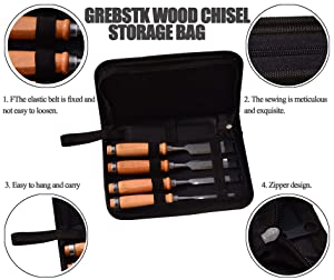 Professional Wood Chisel Tool Sets Sturdy Chrome Vanadium Stainless Steel Woodworking Tools with Storage Bag for Carving Knifes/Chisel Kit, 4PCS, 1/4,1/2,3/4,1 (Color: Silver, Tamaño: 1/4,1/2,3/4,1)