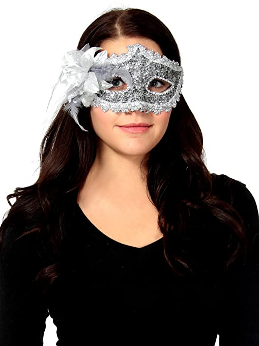 Simplicity Silver Lace Rhinestone Eye Masks for Masquerades Costume Party