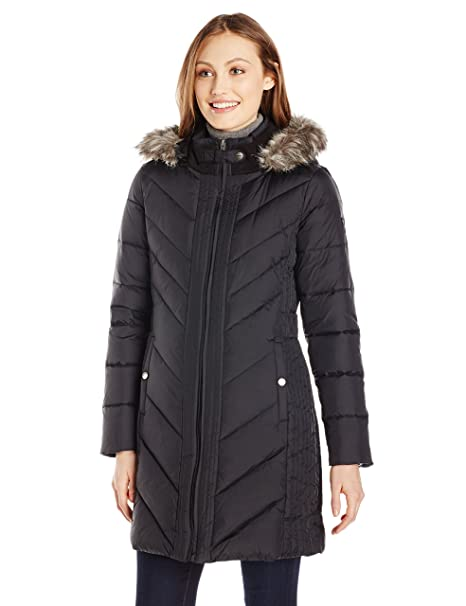 Larry Levine Women's Long Down Coat with Side Tabs and Hood, Black, Medium