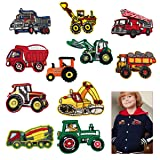 Cieovo 11 Pcs Mix Vehicle Tractor Patches Embroidered Heavy Truck Dump Truck Patch Backhoe Digger Tractor Loader Track Bulldozer Haul Dump Truck DIY Applique Sew Iron on Patch for Clothes (Color: Car)