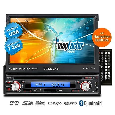 1DIN autoradio CREATONE V-7260DG avec Touchscreen, GPS, Bluetooth, lecteur DVD et USB / SD Fonction