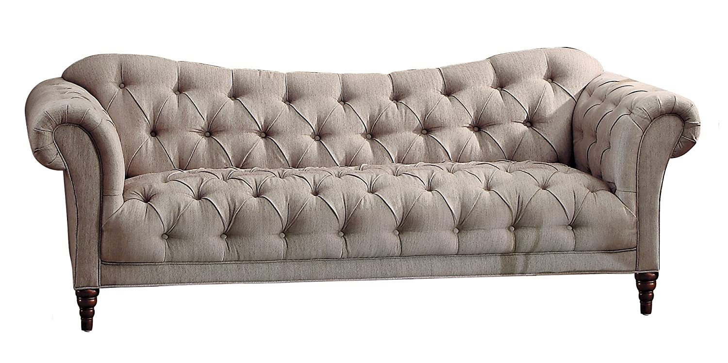 Homelegance Chesterfield Traditional Style Sofa with Tufting and Rolled Arm Design - Brown/Almond