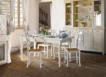 Tavolo tanganica allungabile, in legno, finitura latte - 160/240x85 cm
