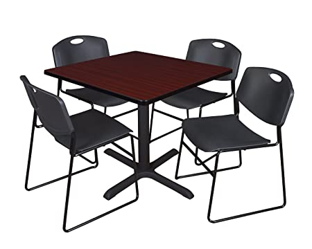 Regency Seating 36-Inch Square Mahogany Laminate Table with Cain Base and 4 Black Zeng Stack Chairs