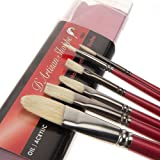 Oil Acrylic Paint Brushes Set. 100% Natural Chungking Hog Hair Bristle in Portable Organizer Plastic Container. 6pc Filbert Flat and Round Paintbrush Gift Kit. (Color: Red)