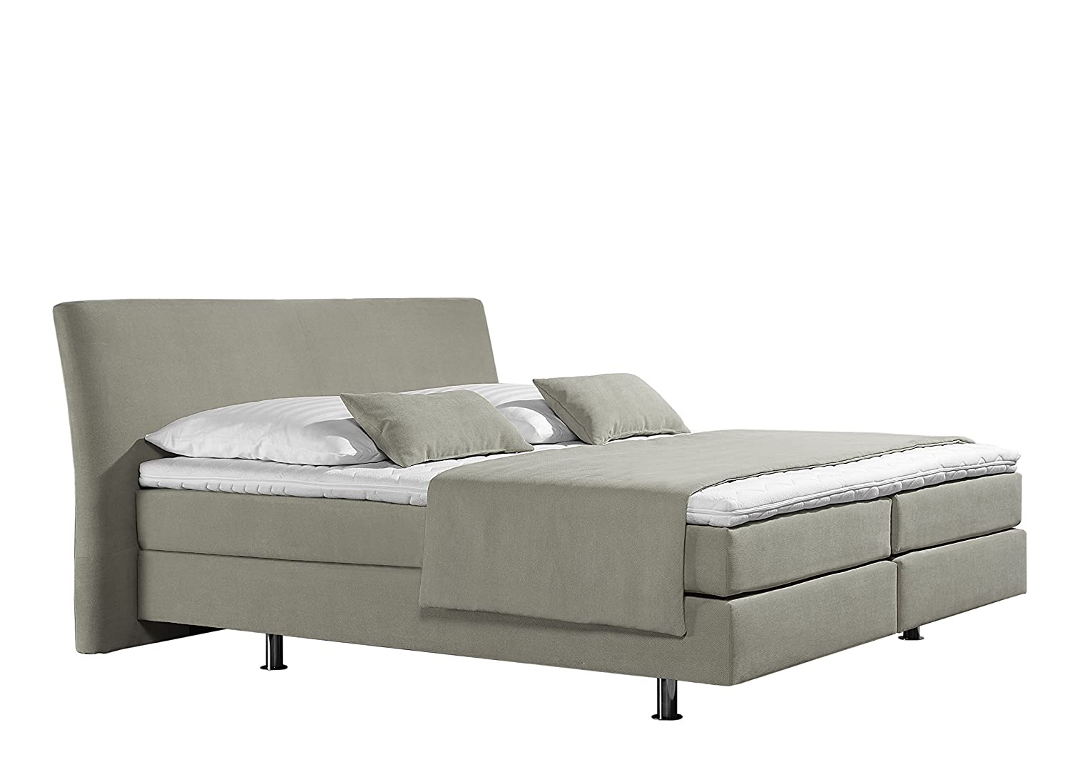 Maintal Betten 237379-4169 Box springbett Club 140 x 200 cm, Strukturstoff ecru