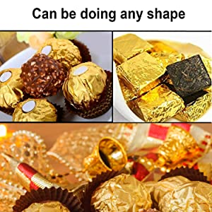 300 Pcs Aluminium Foil Candy Wrappers, SENHAI DIY Package Candy Paper for Chocolate Packaging -200pcs 4 × 4 Inch, 100pcs 6 × 6 Inch (Color: Gold)