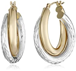 Bonded 14k Yellow Gold and Sterling Silver Hoop Earrings