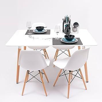 Conjunto de comedor TOWER con mesa lacada blanca y 4 sillas eames (140x90, Blanco)