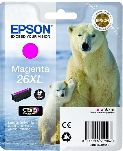 EPSON Cartouche Jet d'encre Originale 26XL C13T26334010 Magenta