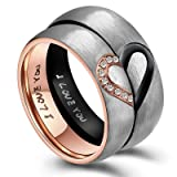ANAZOZ Hers & Women's Stainless Steel Real Love Heart Promise Ring Wedding Engagement Bands 6MM US Size 7 (Color: Rose Gold, Tamaño: 7)