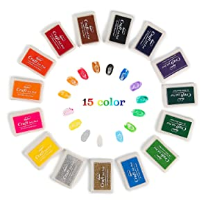 Lsushine Craft Ink Pad Stamps Partner Diy Color,15 Color Craft Ink Pad for Stamps, Paper, Wood Fabric (pack of 15) (Color: YINNI-A)