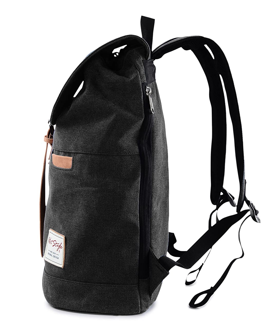 Vintage Canvas Backpack - HotStyle Waterpoof Travel Rucksack Fits 15.6 inch Laptop - Black 2