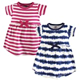 Touched by Nature Baby Girls' Organic Cotton Dress, 2 Pack, tie dye Stripe, 9-12 Months (12M)