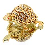 YUFENG Turtle Hinged Trinket Box Handmade Golden Tortoise Bejeweled Box Collectible(golden tortoise) (Color: Gold)