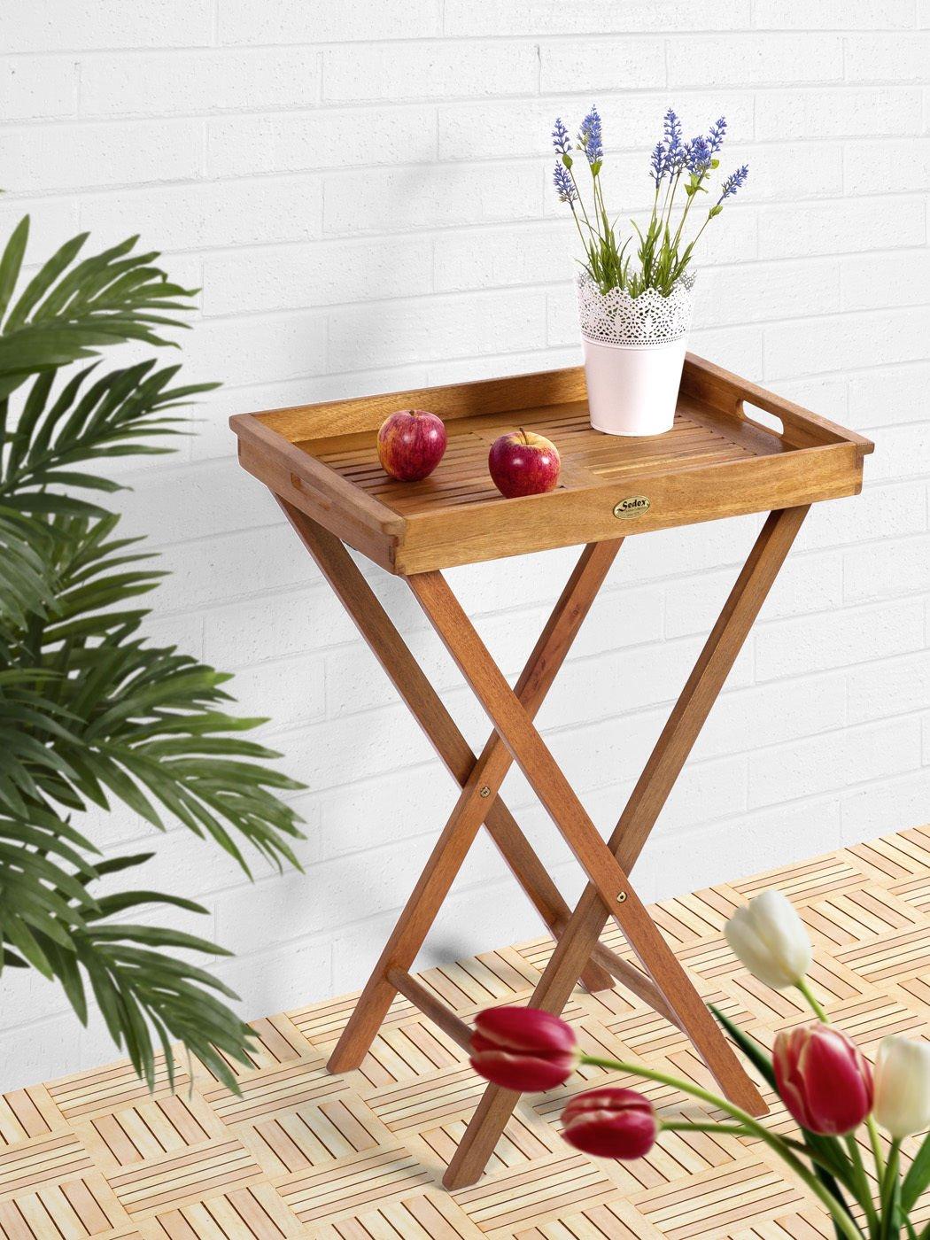 Balkon Klapptisch BISTRO FSC Eukalyptus, natur geölt, abnehmbares Tablett – Modell DELHI jetzt bestellen