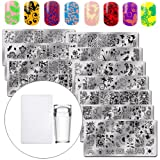 WOKOTO 10Pcs/Set Nail Image Stamping Plates With Stamper And Scraper Set Flowers Floral Designs Manicure Stamp Plates Kit