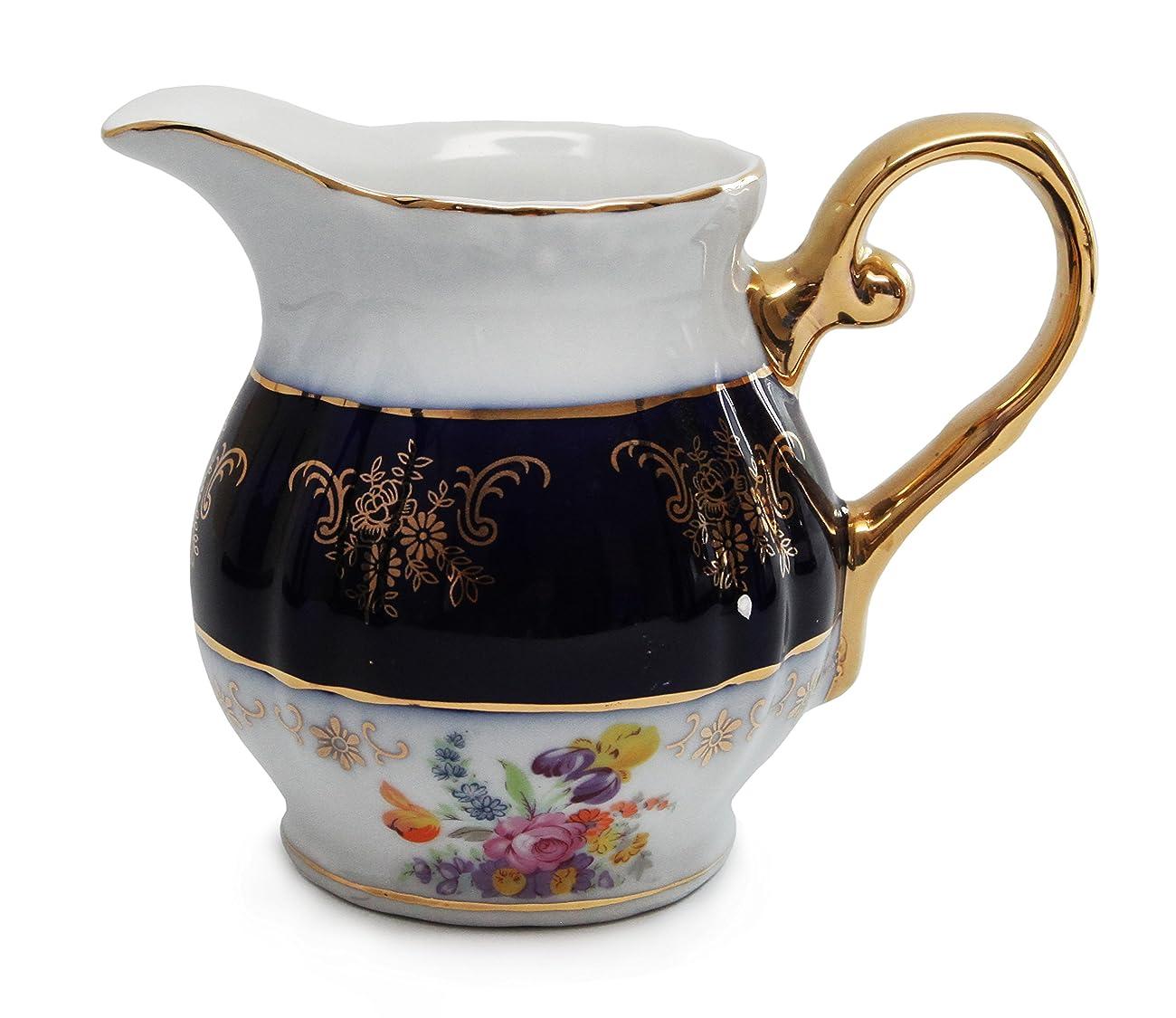 Royal Porcelain 17pc Flower-Patterned Dark Blue Tea Set, 24K Gold-Plated Original Cobalt Tableware, Service for 6 4