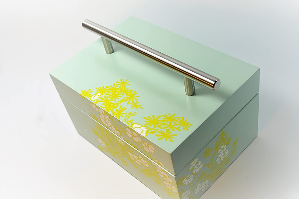 Wooden box keep safe box storage laquer box cheery bloom light green paint lift lid with stainless handle