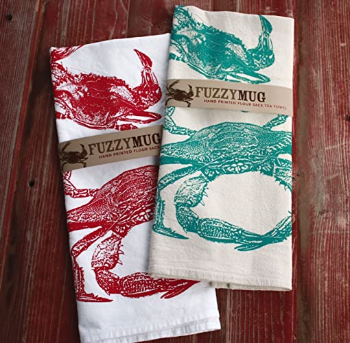 Amazon.com: Crab Tea Towel in Red - Hand Printed Flour Sack Tea Towel: Handmade