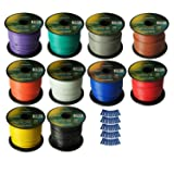 Harmony Audio Primary Single Conductor 16 Gauge Power or Ground Wire - 10 Rolls - 1000 Feet - Color Mix for Car Audio/Trailer/Model Train/Remote